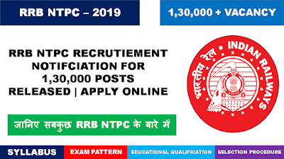 RRB NTPC Recruitment 2019 | 1,30,000 Posts | Syllabus  | Exam Pattern | Books