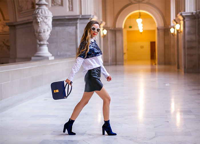 English factory sequin button down shirt, leather mini skirt, gentle monster sunglasses, baublebar earrings, celine classic box bag, steve madden velvet boots, velvet boots, fall essential, san francisco street style, san francisco fashion blog, holiday outfit ideas