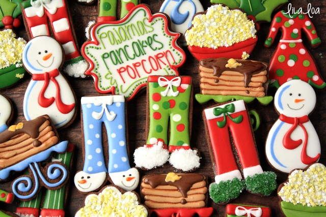 Popcorn, Pajamas, and Pancakes -- decorated sugar cookies