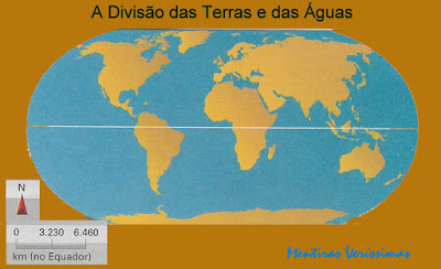 Mapa mostrando todas as terras emersas na imensidão das águas oceânicas
