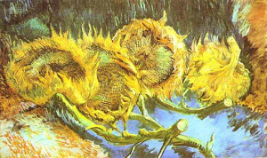 Vincent Wilhelm VAN GOGH - 4 CUT SUNFLOWERS
