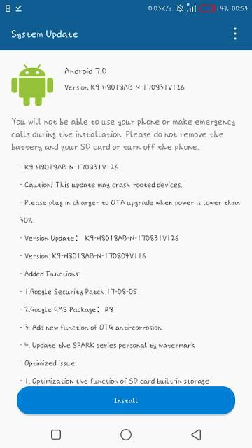 Tecno-spark-k9-update