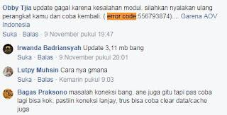 Mengatasi Game AOV error code 556793874