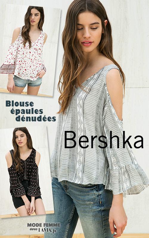 Blouse imprimée épaules dénudées Bershka