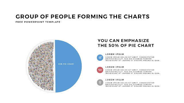 Free PowerPoint Template with Group of People Forming The Pie Chart for Emphasize 50 % Business Area with White Backgrounbd