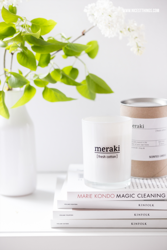 Marie Kondo Magic Cleaning und Meraki Fresh Cotton Duftkerze