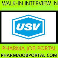 USV Pvt. Ltd. Walk-In Interview For M.Pharm, B.Pharm, M.Sc, B.Sc, B.E - Apply Now