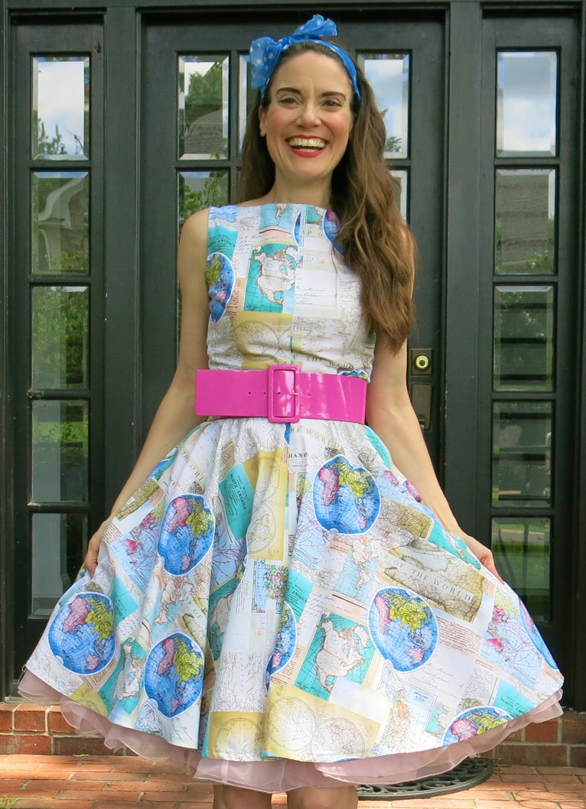 Cassie stephens diy a world map dress and traveling tips map fabric in my stash for some time and i thought that this trip would be the perfect occasion to frock it up so i present to you my world map dress gumiabroncs Images