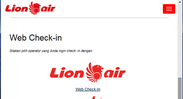 web check-in online di lion air