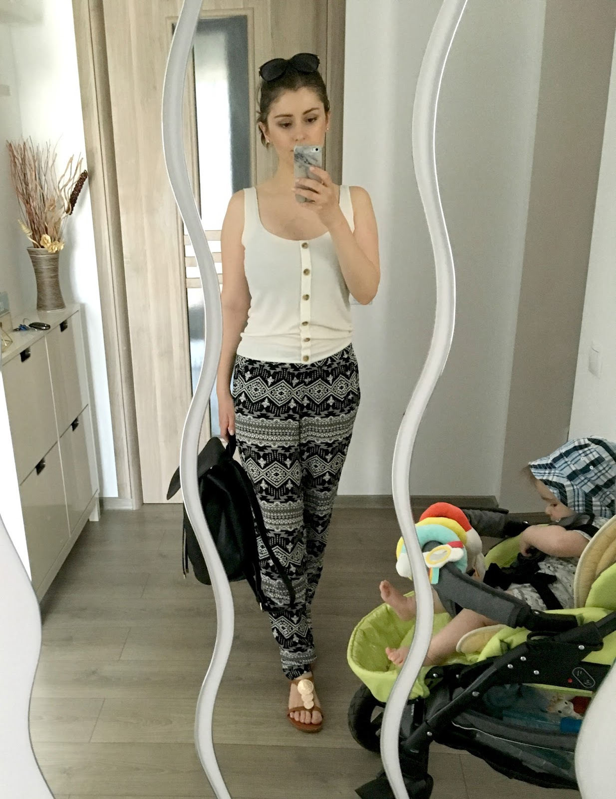 aztec print pants with statement buttons top for summer
