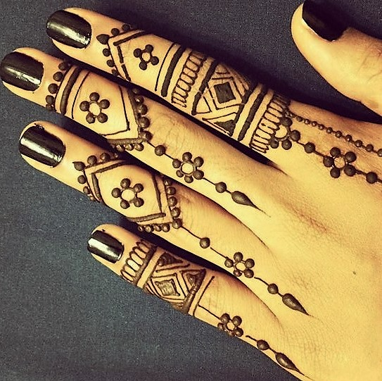Latest Finger design mehndi for wedding.