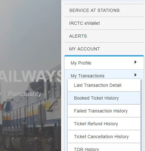 Picture of booked ticket history option on IRCTC website