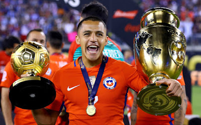 Arsenal and Chile star Alexis Sanchez was awarded the Golden Ball