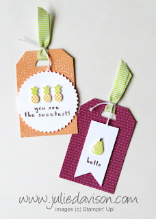 Fruit Basket Gift Tags ~ Itty Bitty Fruit Punch Pack ~ 2018 Stampin' Up! Occasions Catalog ~ www.juliedavison.com