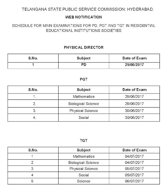 Gurukul Teachers - PGT, TGT & PD - Main Examination Schedule.
