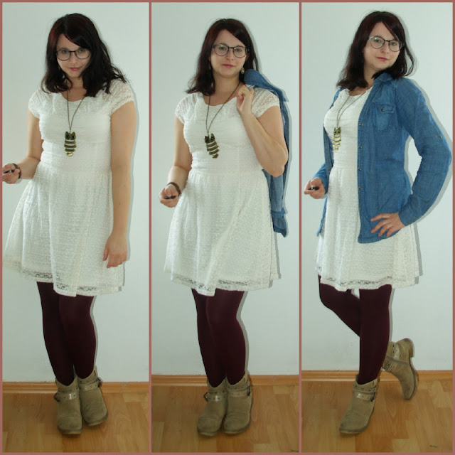[Fashion] Lace, Lace, Baby Lace Dress, Coloured Tights & Jeans Jacket  Spitzenkleid, farbige Strumpfhose & Jeansbluse