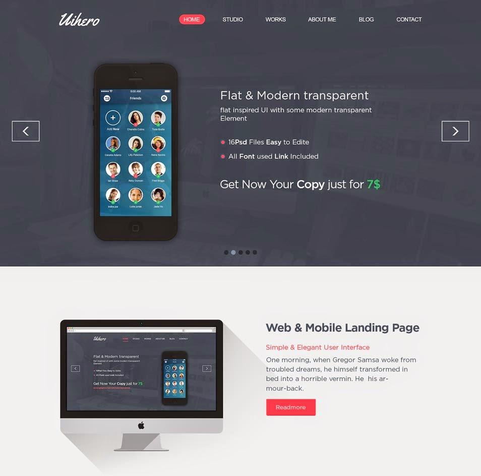 Uihero – Free PSD Website Template