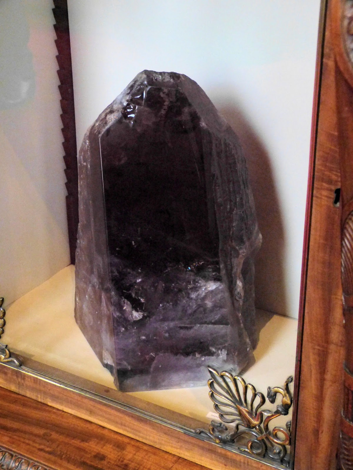 Smoky quartz crystal from the Simplon Pass on display in the South Sketch Gallery, Chatsworth
