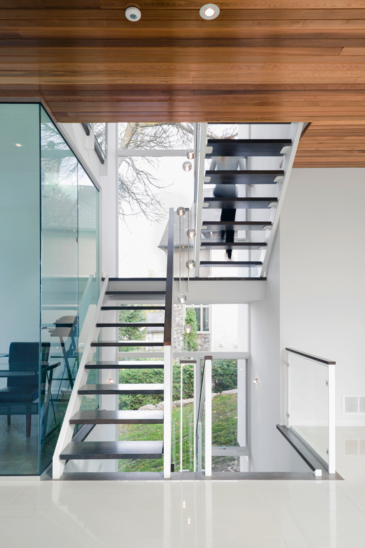 Modern stairs in Amazing Ottawa River House by Christopher Simmonds Architect
