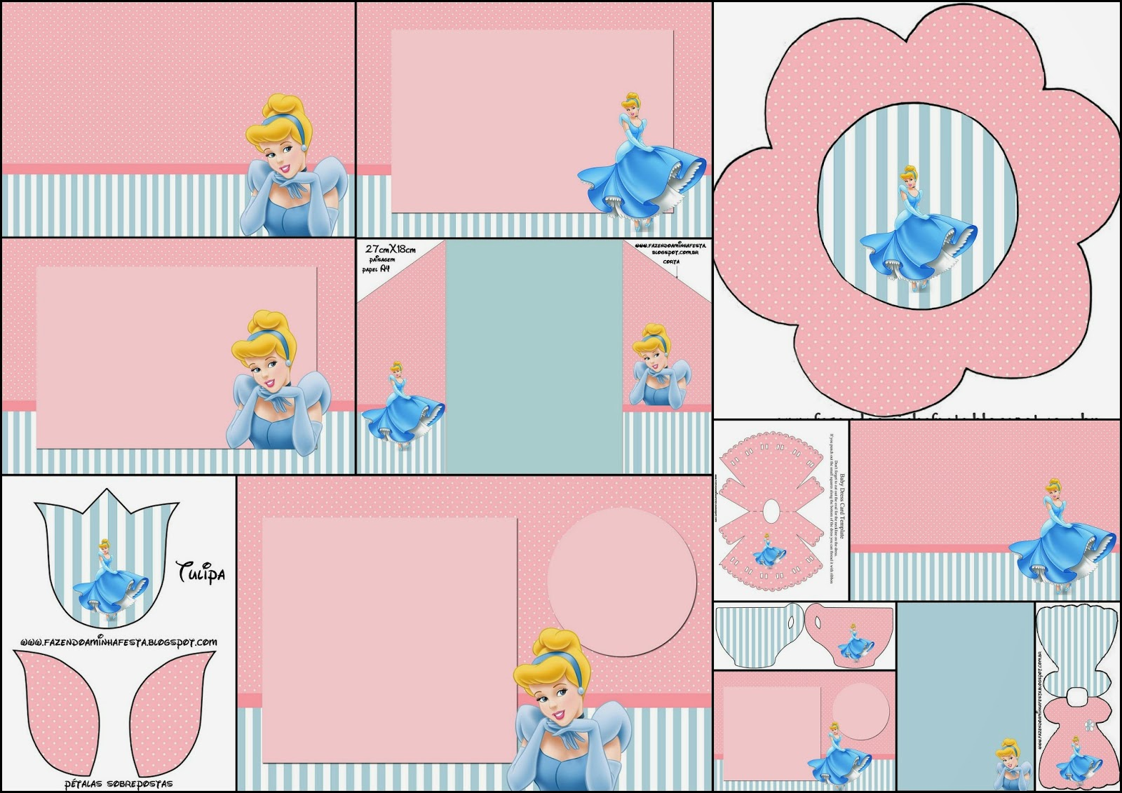 Cinderella in Pink and Light Blue: Free Printable Invitations.