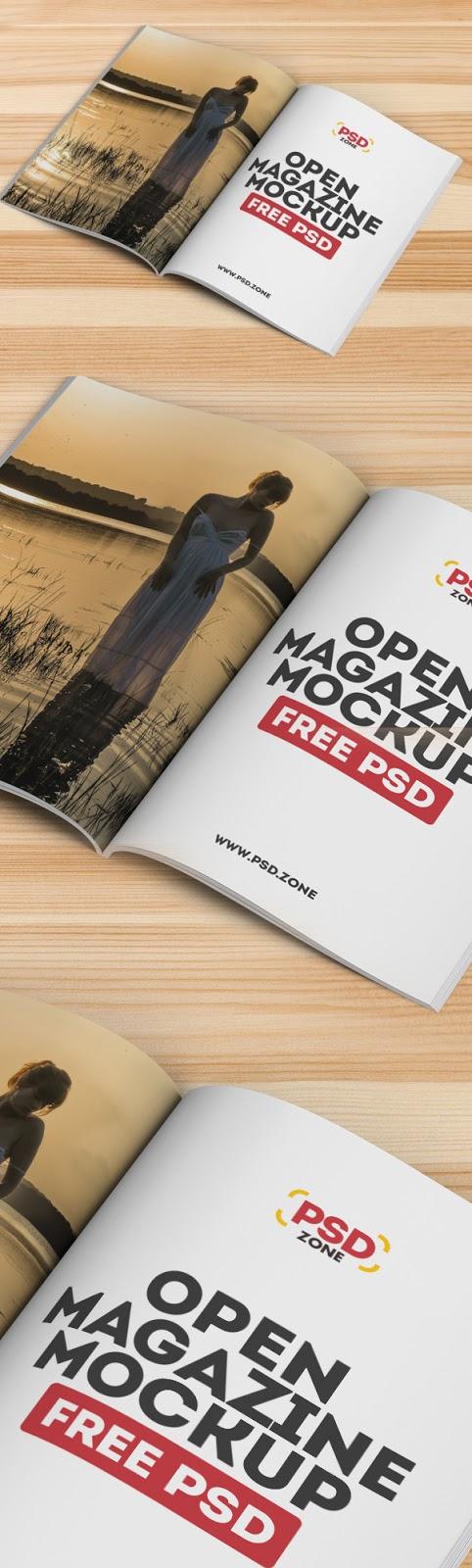 Download Free Mockup PSD 2018 - Open Magazine Mockup Free PSD