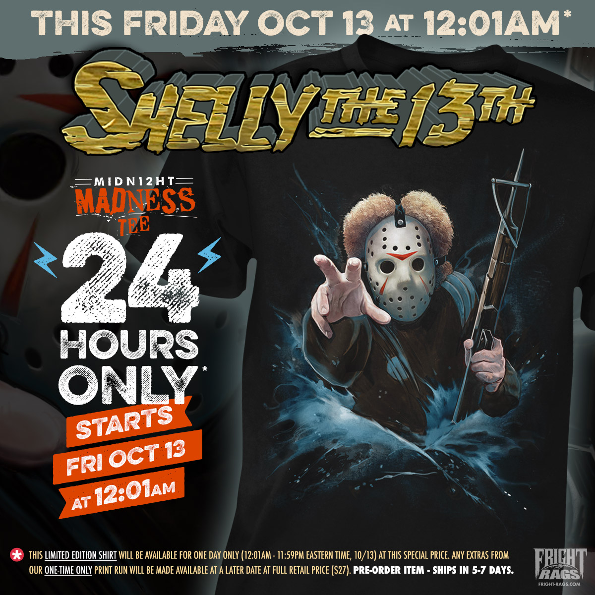 Fright-Rags drops their Shelly the 13th tee!