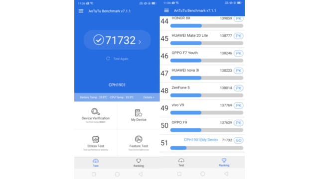 Skor AnTuTu Benchmark Oppo A7