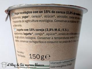 Yogur ecológico con un 15% de cereza y leche entera de la marca Milbona de Lidl.