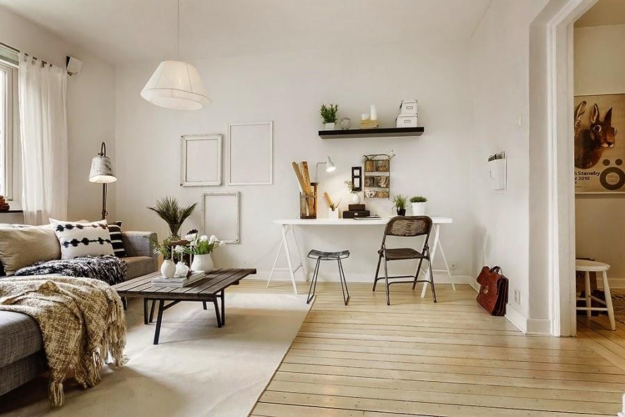 styl skandynawski, vintage, dodatki, dekoracje, ramki, drabina, skrzynka, IKEA, biurko, stolik