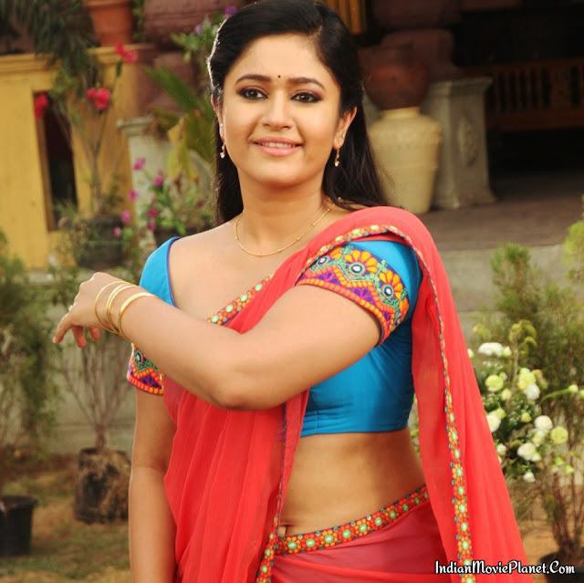 Poonam Bajwa Hot Pink Saree Stills Movie Aranmanai