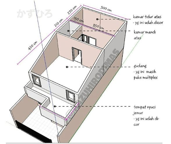 Rumah Tipe 60 lantai 2 lengkap dengan rincian denahnya