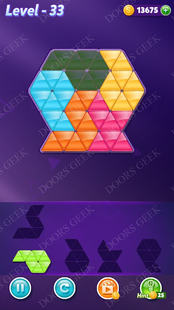 Block! Triangle Puzzle 5 Mania Level 33 Solution, Cheats, Walkthrough for Android, iPhone, iPad and iPod