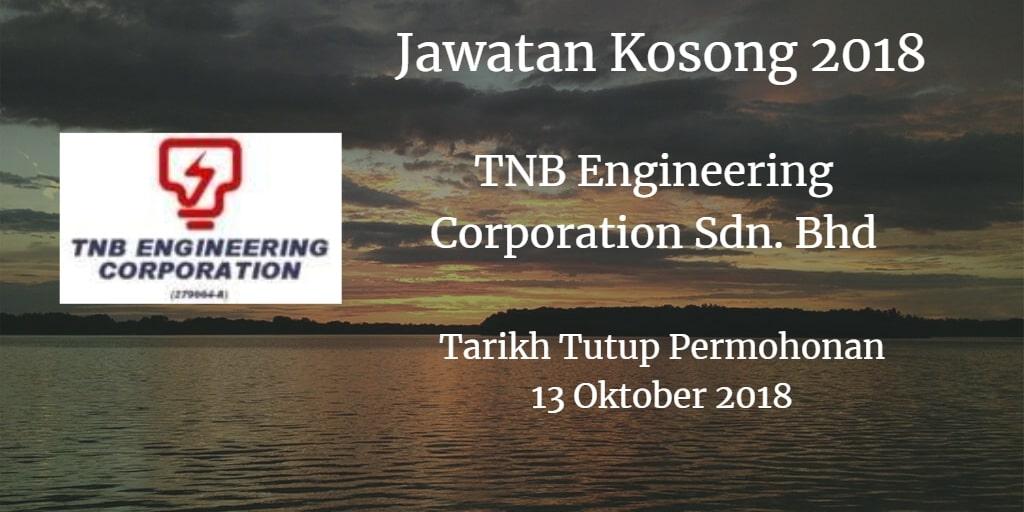 Jawatan Kosong TNB Engineering Corporation Sdn. Bhd 13 Oktober 2018