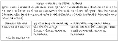 GPSSB Nayab Chitnis Exam Center Change Notification 2018
