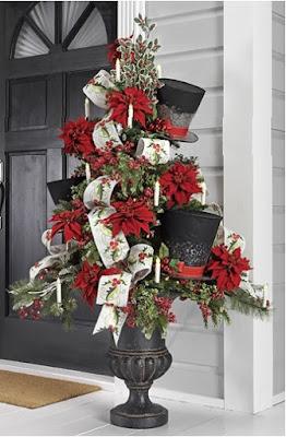 Decoración de navidad para el exterior de casa, como hacer un árbol afuera de la casa