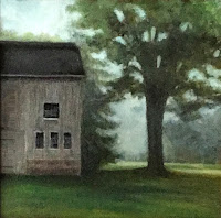 stone house farm, plein air, barn, maple tree
