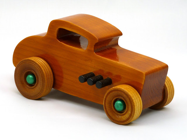 Right Front - Wooden Toy Car - Hot Rod Freaky Ford - 32 Deuce Coupe - Pine - Amber Shellac - Metallic Green