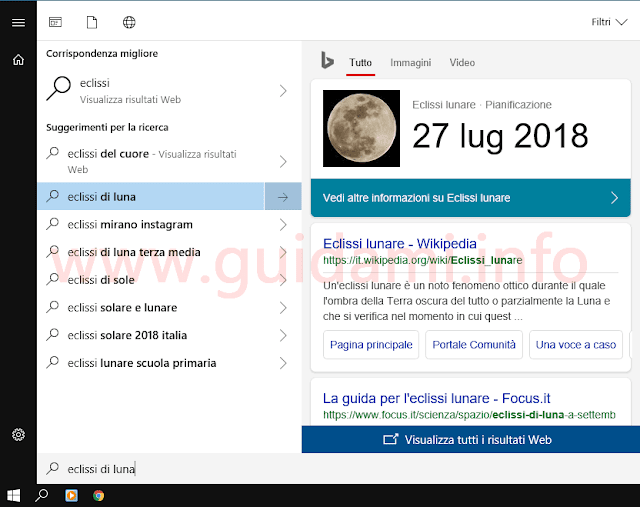 Menu Start Windows 10 con risultati web di Cortana