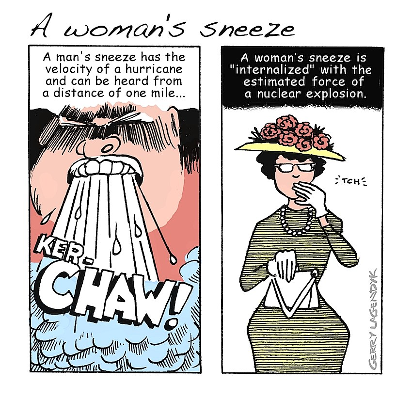 Gerry Lagendyk cartoon about how men and women sneeze