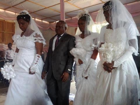 man marry three woman in church