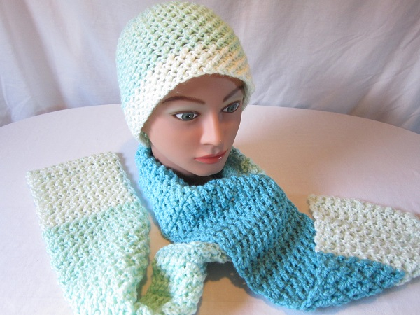 crochet, free pattern, hat, scarf, Caron Cakes, double crochet cross stitch, Faerie's Enchantment Set