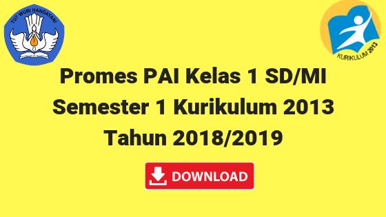 Promes PAI Kelas 1 SD/MI Semester 1 Kurikulum 2013 Tahun 2018/2019