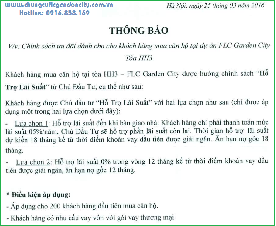 chinh sach ban hang toa hh3 flc garden city
