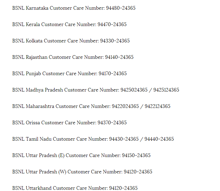 Customer Care : BSNL Customer care Toll Free Numbers