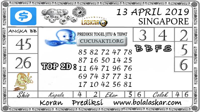 Prediksi Togel SINGAPORE LASKAR4D 13  APRIL 2019