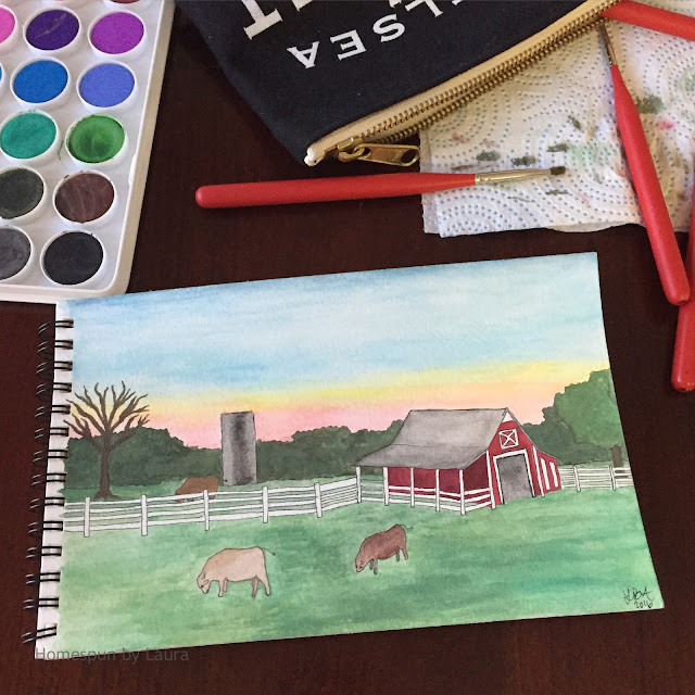 homespun by laura daily doodle country farm sunset pastoral scene watercolor