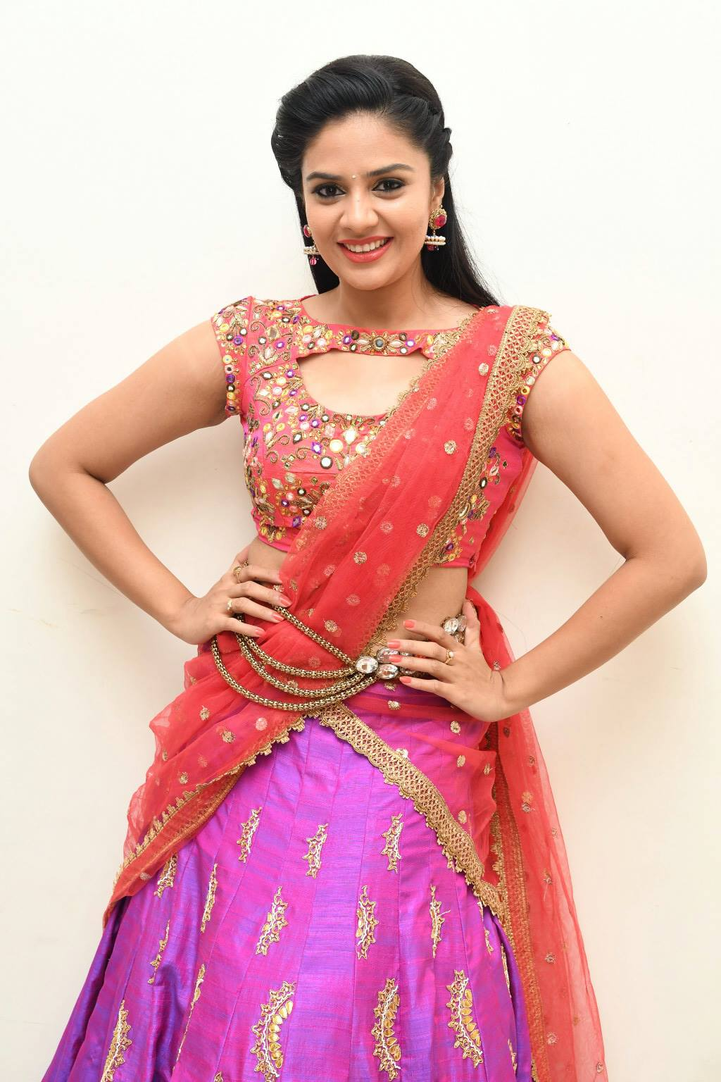 Telugu TV Anchor Hot Photos In Orange Half Saree Sreemukhi