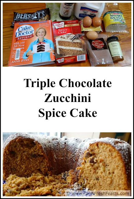 Three kinds of chocolate chips plus zucchini in a spiced bundt cake. Use a boxed cake mix to start for easy prep.