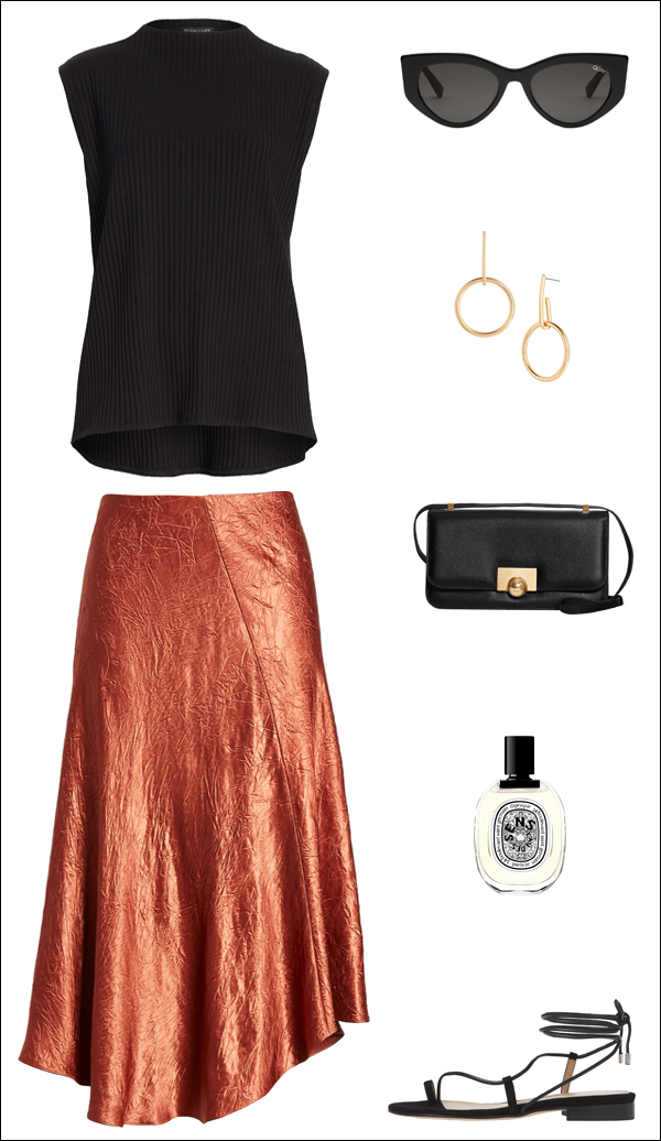 Darker Summer Outfit Idea: Sleeveless Top, Bottega Veneta Bag, Satin Skirt, and Flat Lace-Up Sandals