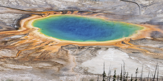 the Grand Prismatic Spring from above aerial view